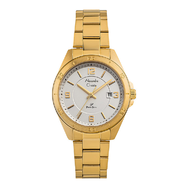 Alexandre Christie AC 1016 LD BGPSL Ladies Silver Dial Gold Tone Stainless Steel Strap