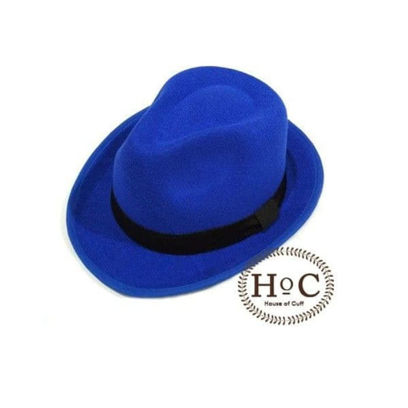 House Of Cuff Topi Fedora Hat Blue Bright Fedora Hat