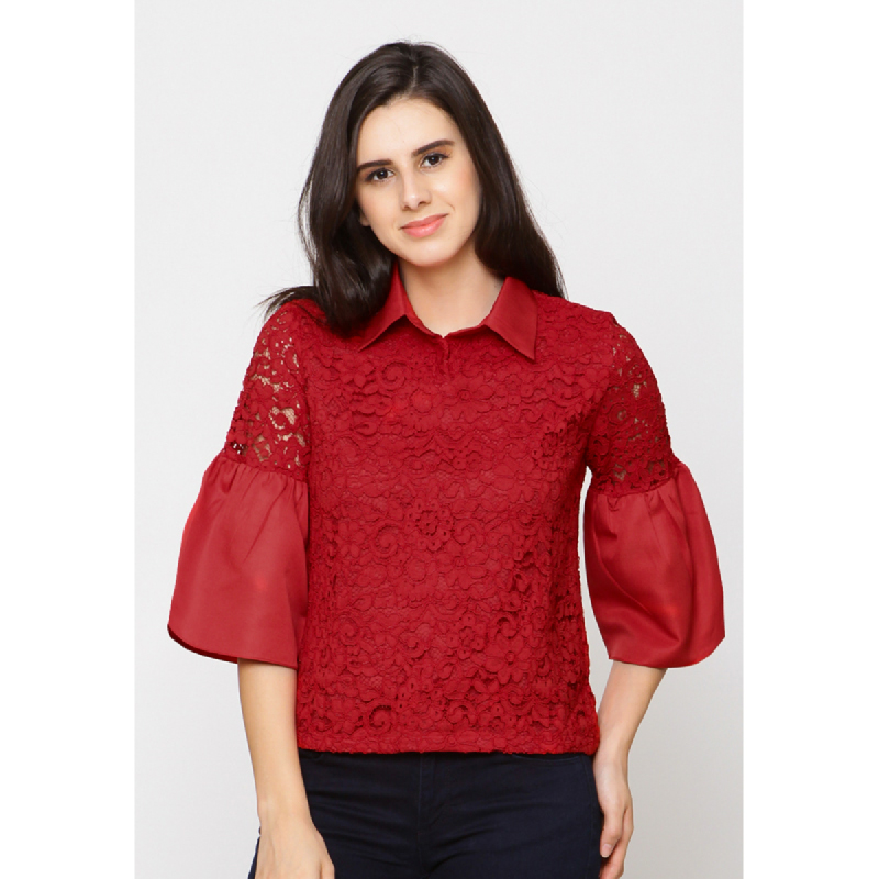 Agatha Red Embroidery Blouse Red