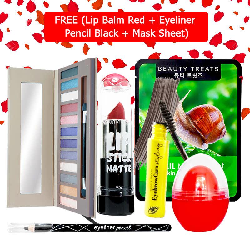 Beauty Treats Make Up Set B (Naked Eyeshadow No. 2 + Lipstick No. 6 + Eyebrowcara Dark Grey Brown) FREE Kiss Me Lip Balm Red + Eyeliner Pencil Black + Mask Sheet Snail