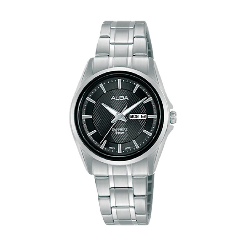 Alba AN8025X1 BlackPattern Dial Stainless Steel Strap