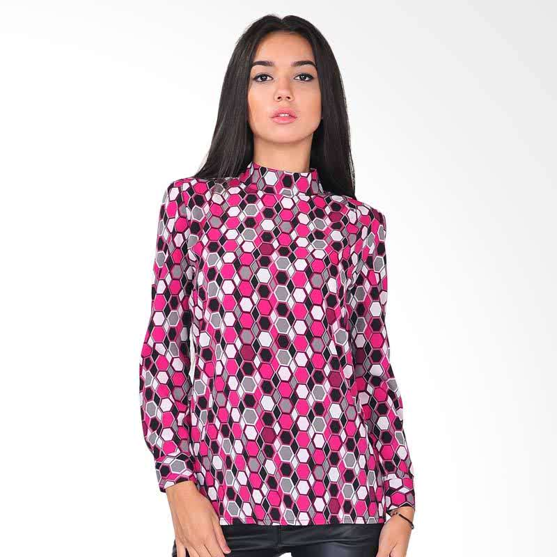 Turtle-Neck Pink Print Blouse Pink