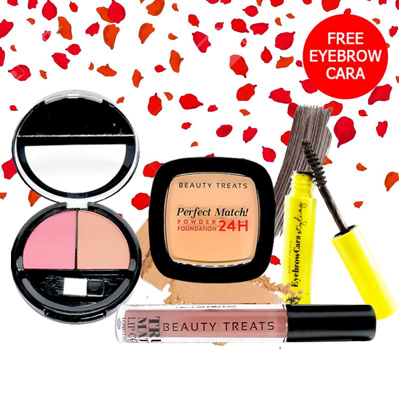 Beauty Treats Make Up Set A (Perfect Match Powder Foundation 24H No. 4 + True Matte Lip Color No. 8 + Duo Blush No. 2) FREE Eyebrowcara Dark Grey Brown