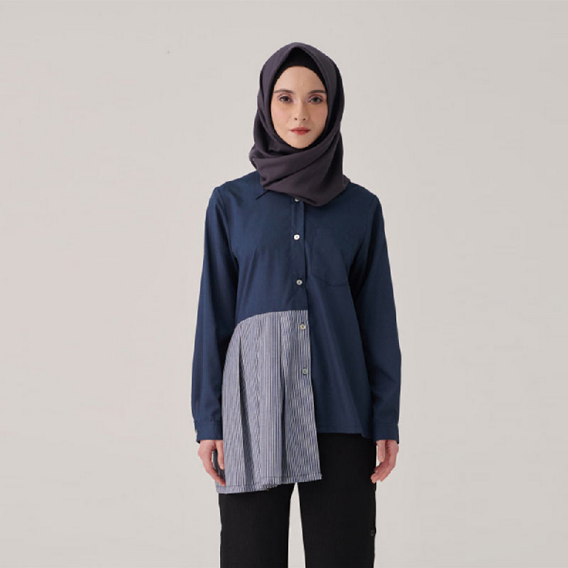 Suqma Avery Blouse Combine Stripes Navy-Grey