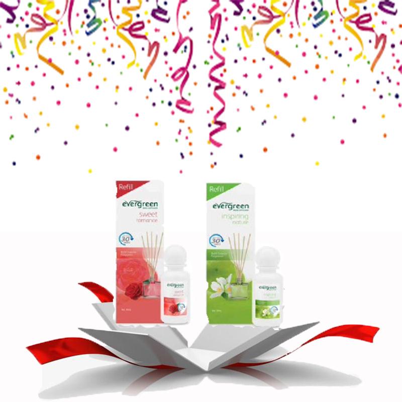 Evergreen Reed Diffuser Reffil Sweet Romance 30 ml & Evergreen Reed Diffuser Reffil Inspiring Nature 30 ml
