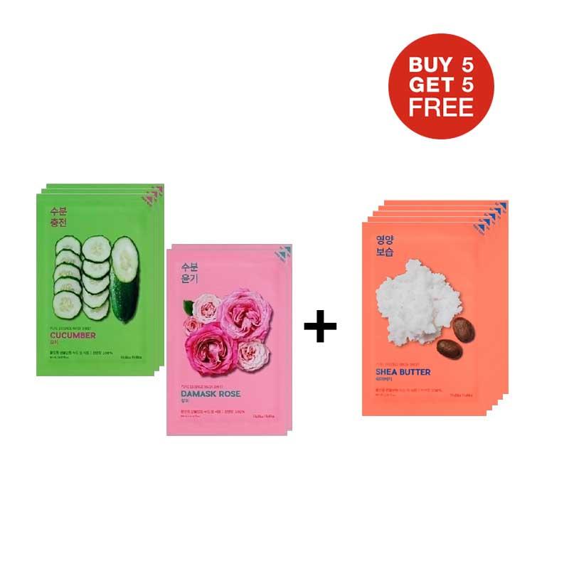 Bundling Holika 3 Pure Essence Mask Sheet Cucumber + 2 Damask Rose + 5 Pure Essence Mask Sheet Shea Butter (5+5)