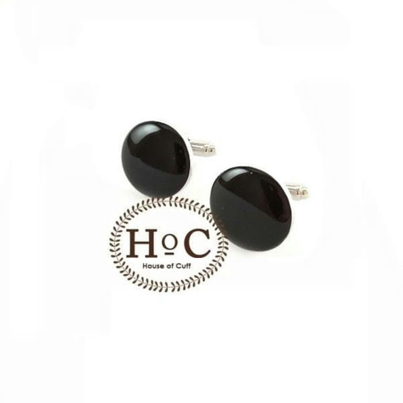House Of Cuff Cufflinks Manset Kancing Kemeja French Cuff Circle Black Solid