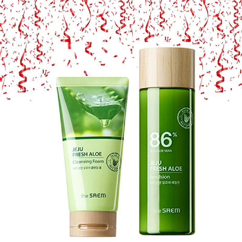 The Saem Jeju Fresh Aloe Cleansing Foam 150g + The Saem Jeju Fresh Aloe Emulsion 155ml