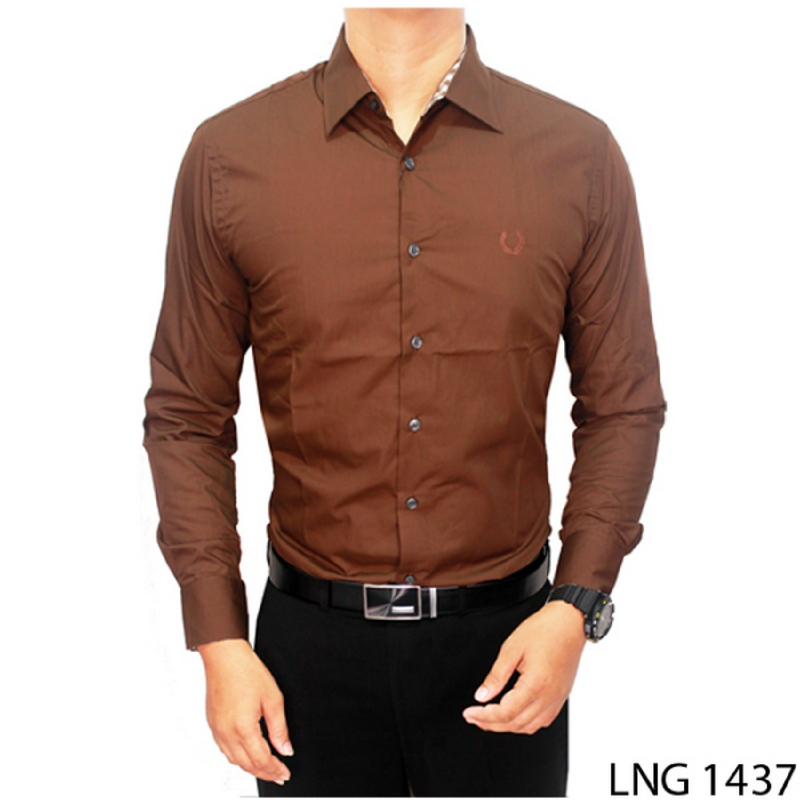 Gudang Fashion Kemeja Pria Lengan Panjang Slim Fit Coklat Tua LNG 1437