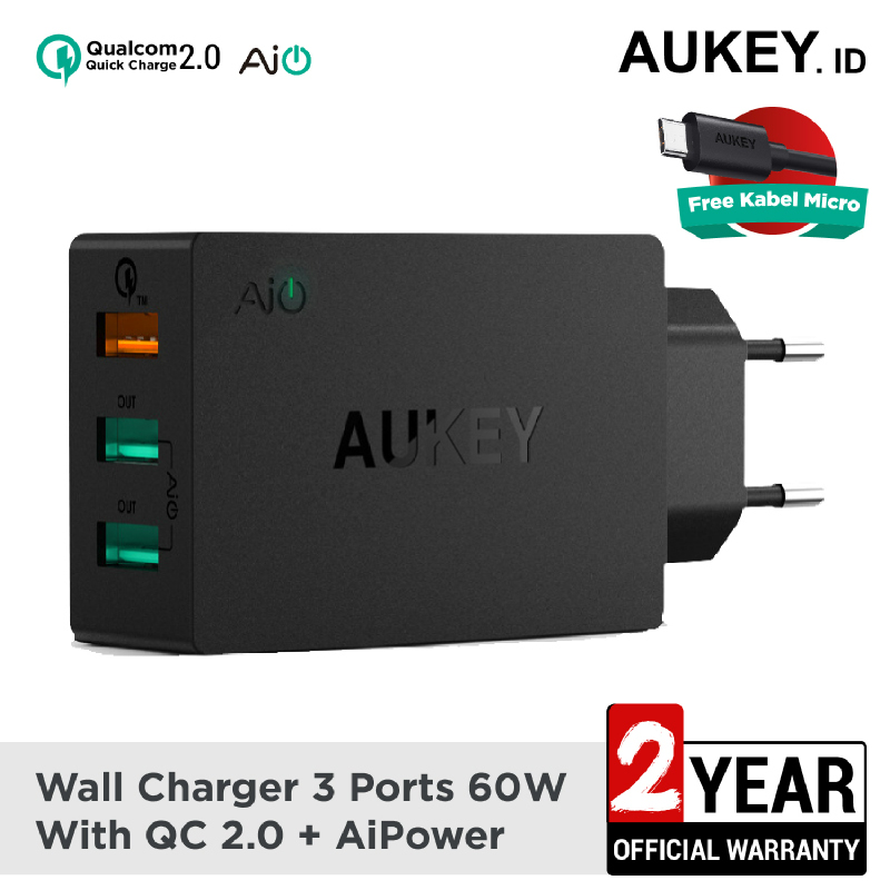 Aukey Charger 3 Ports 42W QC 2.0 & AiQ - 500231