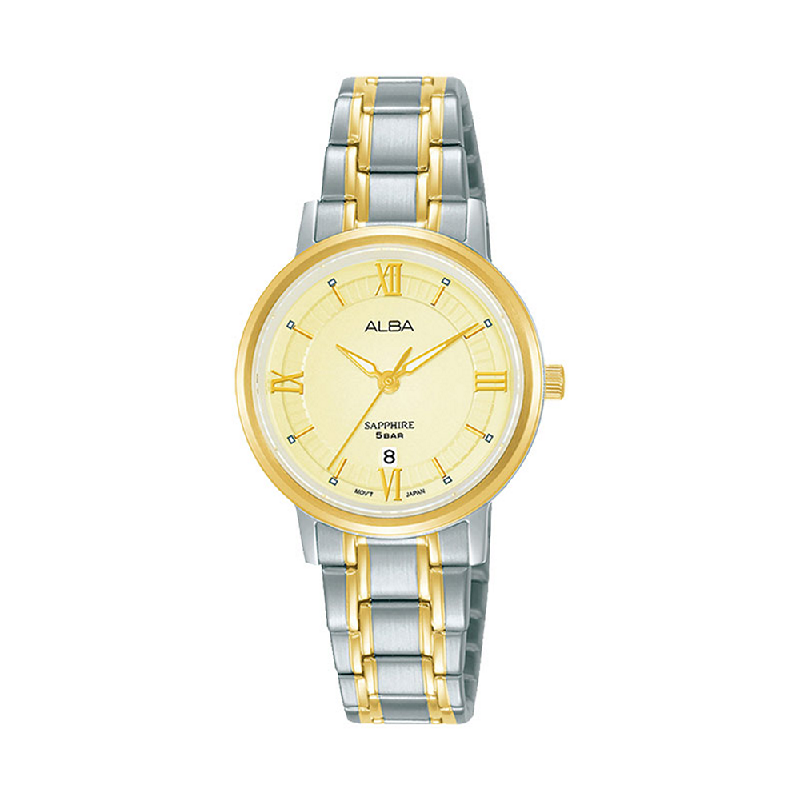 Alba AH7V62X1 Ladies Champagne Patterned Dial Dual Tone Stainless Steel Strap
