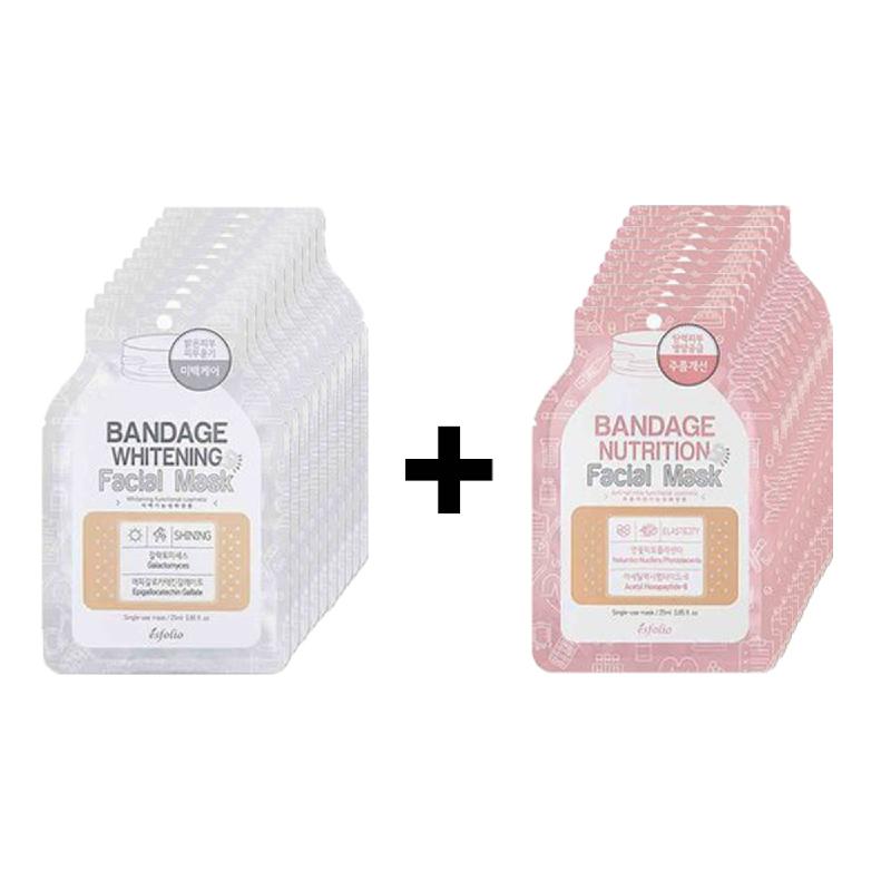 Esfolio Bandage Whitening Facial Mask 10Pcs + Esfolio Bandage Nutrition Facial Mask 10Pcs