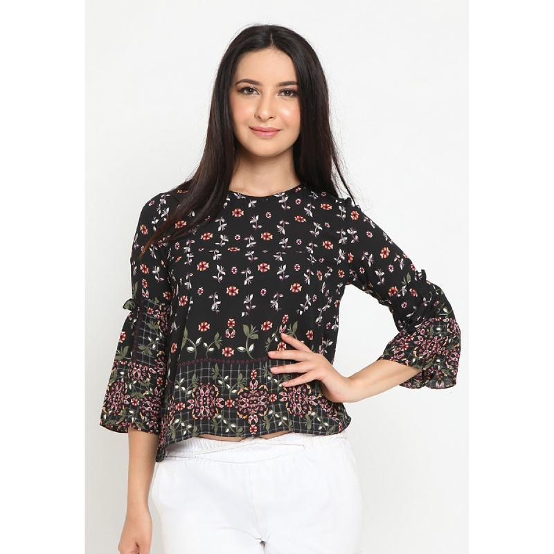 Agatha Ruffle Sleeve Floral Top Black