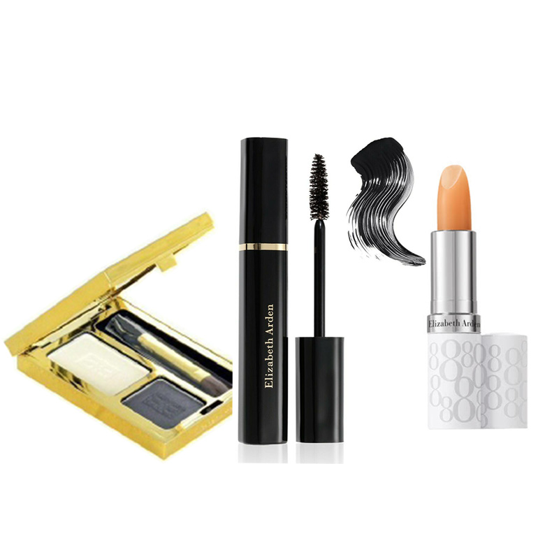Elizabeth Arden Beautiful Color Duo Eyeshadow - Black Tie+Free Double Density Mascara Black+Free Eight Hour Lipcare Stick SPF 15