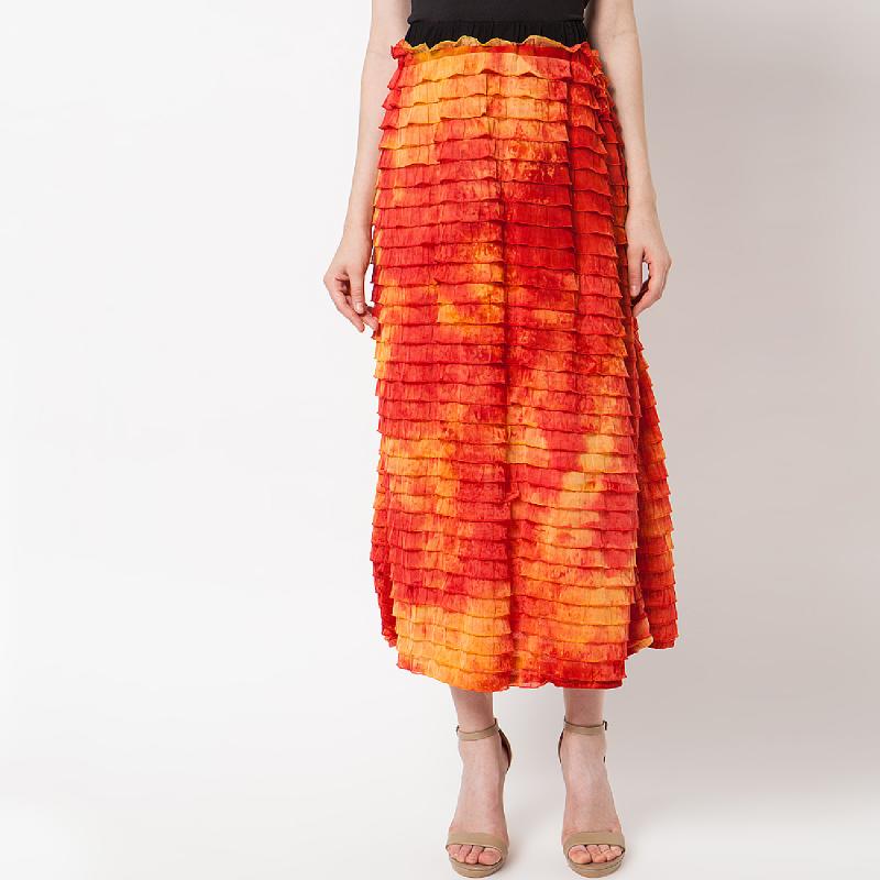 Duapola Layers Cotton Long Skirt Orange