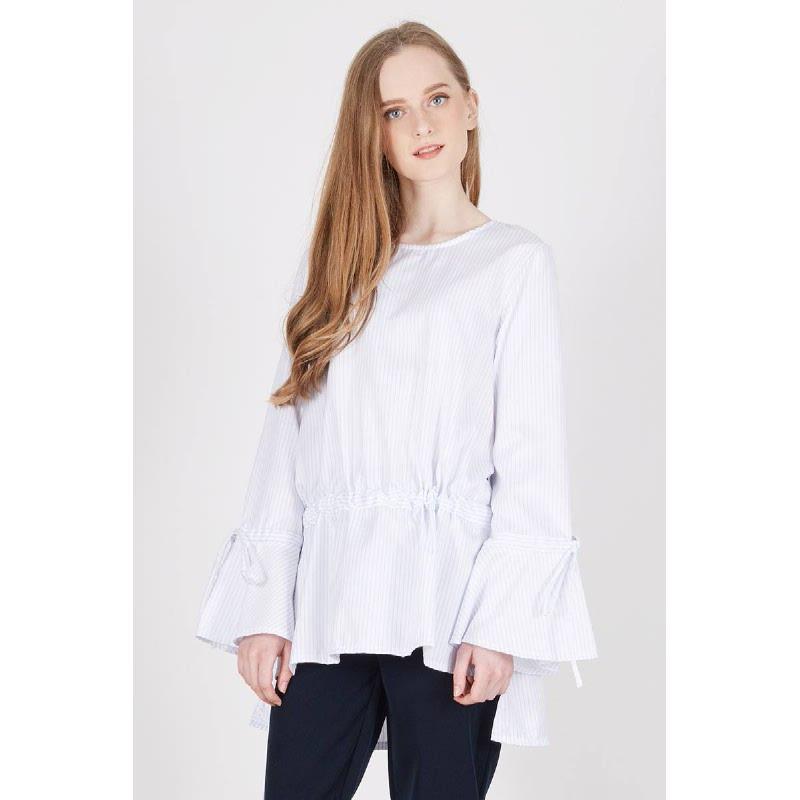 Preska Stripe Gather Top White