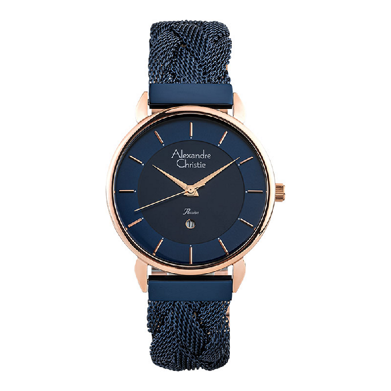 Alexandre Christie Passion AC 2857 LD BURBU Ladies Blue Dial Dual Tone Stainless Steel Strap