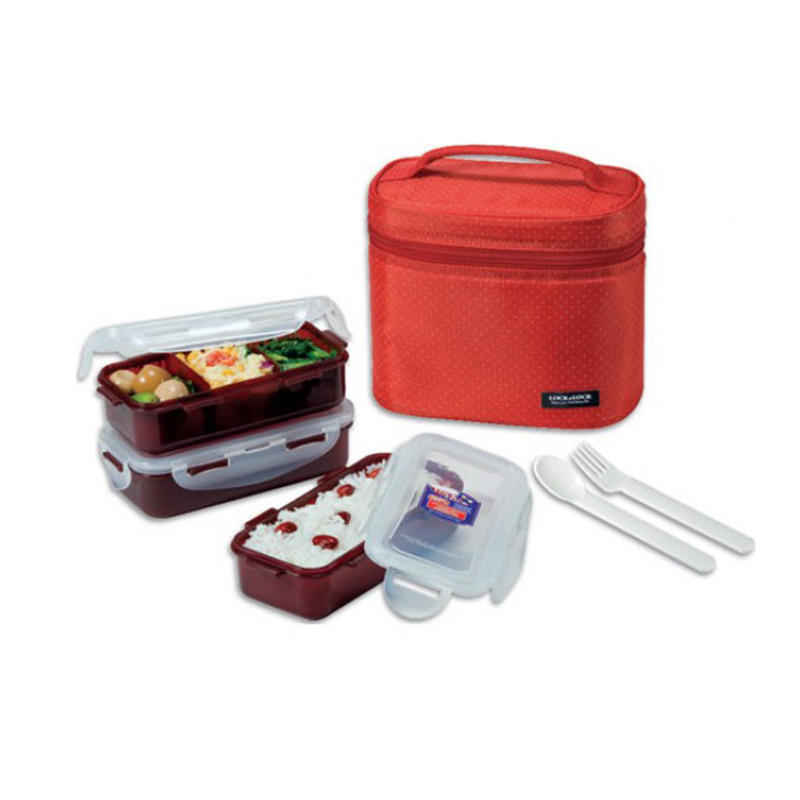 Lock & Lock HPl758Dr Lunch Box 3P Set with Red Bag & Spoon, Fork Set