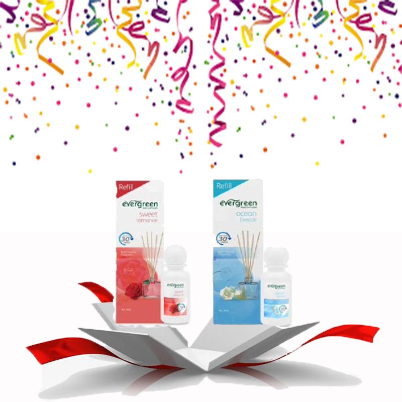 Evergreen Reed Diffuser Reffil Sweet Romance 30 ml & Evergreen Reed Diffuser Reffil Ocean Breeze 30 ml