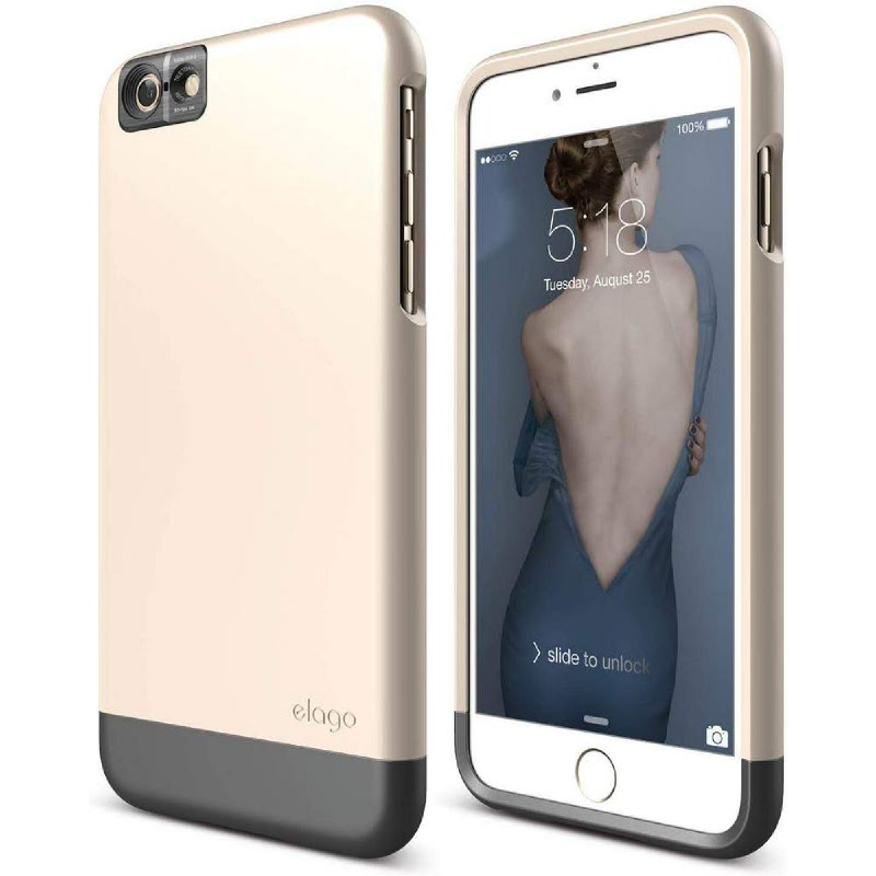 Elago Glide Cam Case for iPhone 6S-SF Champagne Gold+SG Metallic Dark Gray