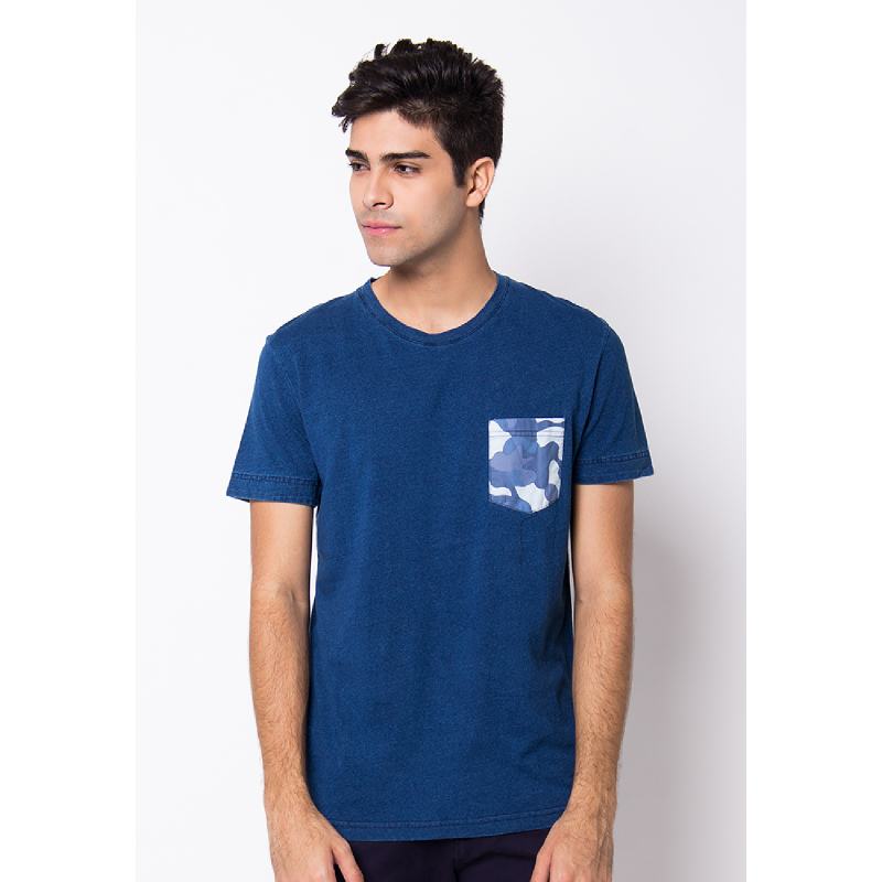 Navy Denim Army Pocket Short Sleeves Tee