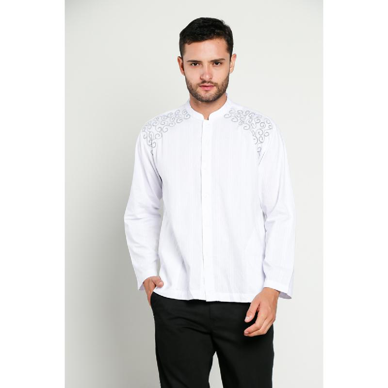 Aitana Baju Koko Pria Bordir YN-11727-LS Putih