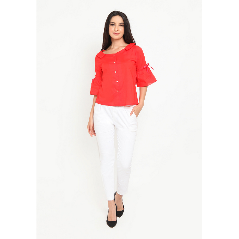 Agatha Elle Red Blouse Red