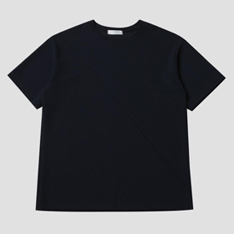 [BL2172]Embo Pintuck Round Short Sleeve T-shirt - Navy