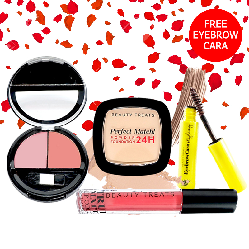 Beauty Treats Make Up Set A (Perfect Match Powder Foundation 24H No. 2 + True Matte Lip Color No. 2 + Duo Blush No. 1) FREE Eyebrowcara Dark Brown