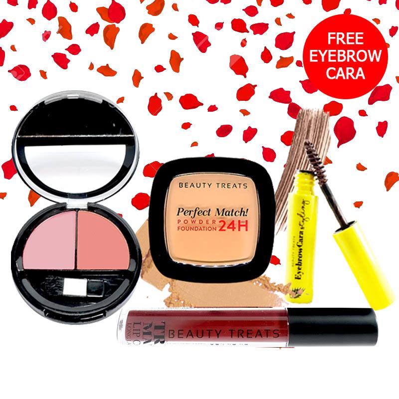 Beauty Treats Make Up Set A (Perfect Match Powder Foundation 24H No. 4 + True Matte Lip Color No. 12 + Duo Blush No. 1) FREE Eyebrowcara Dark Brown