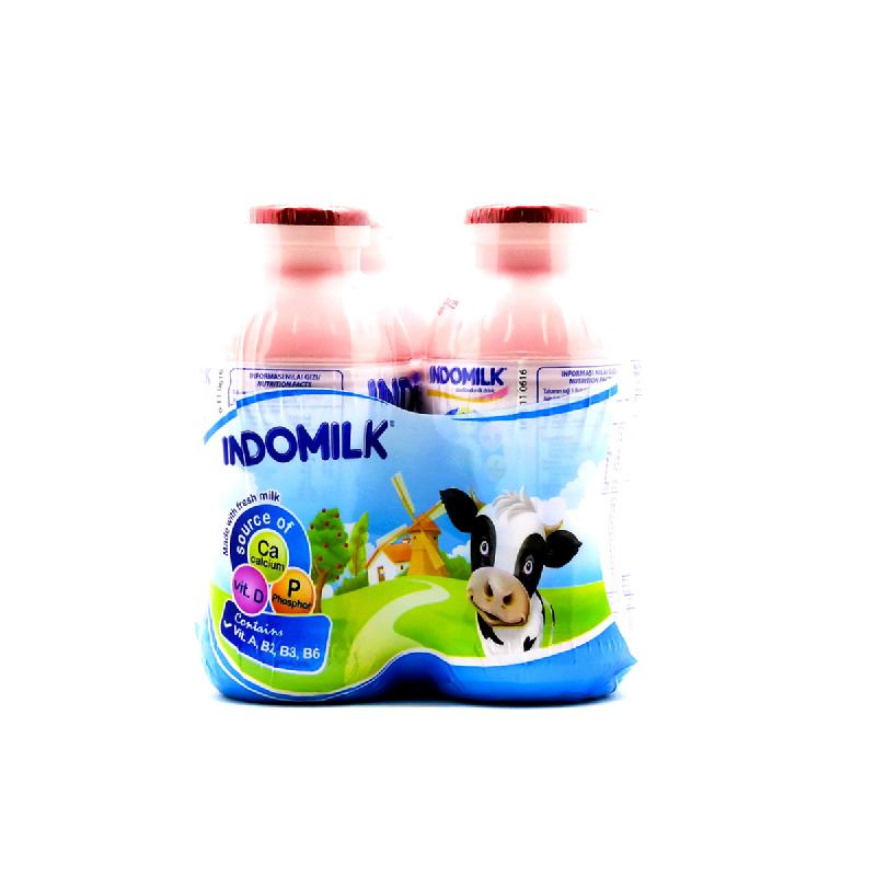 Indomilk Susu Cair  Stroberi Multipack 4 X 190 Ml