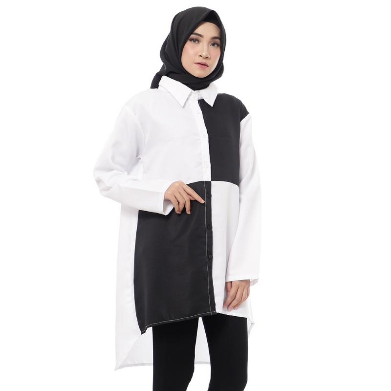Mybamus Fia Tone Kemeja Tunic White-Black M14685 R56S4
