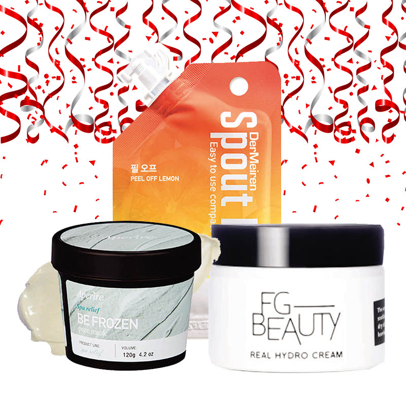 Aperire Spa Relief Be Frozen Pore Mask + Dermeiren Peel Off Refreshing Lemon And Honey Mask 12 G + FG Beauty Real Hydro Cream 50 Ml