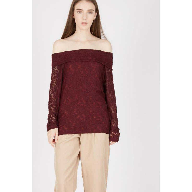 Irlina Maroon Lace Blouse