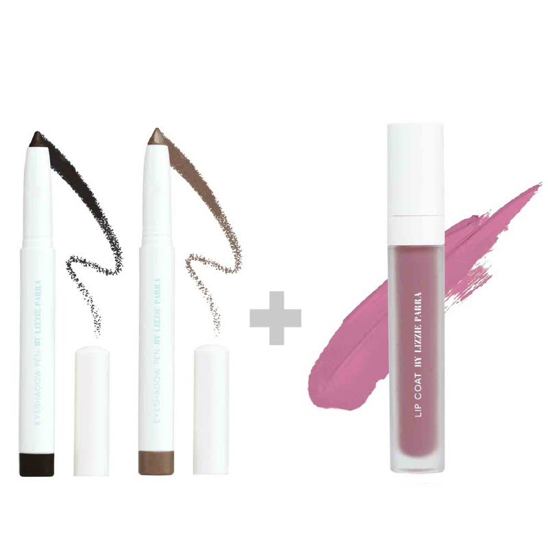 BLP Eyeshadow Charcoal Black+Crème Gold & Lipcoat Lavender Cream