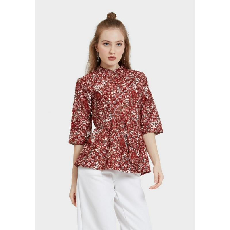 Arjuna Weda Blouse Batik Lereng Mukti Merah