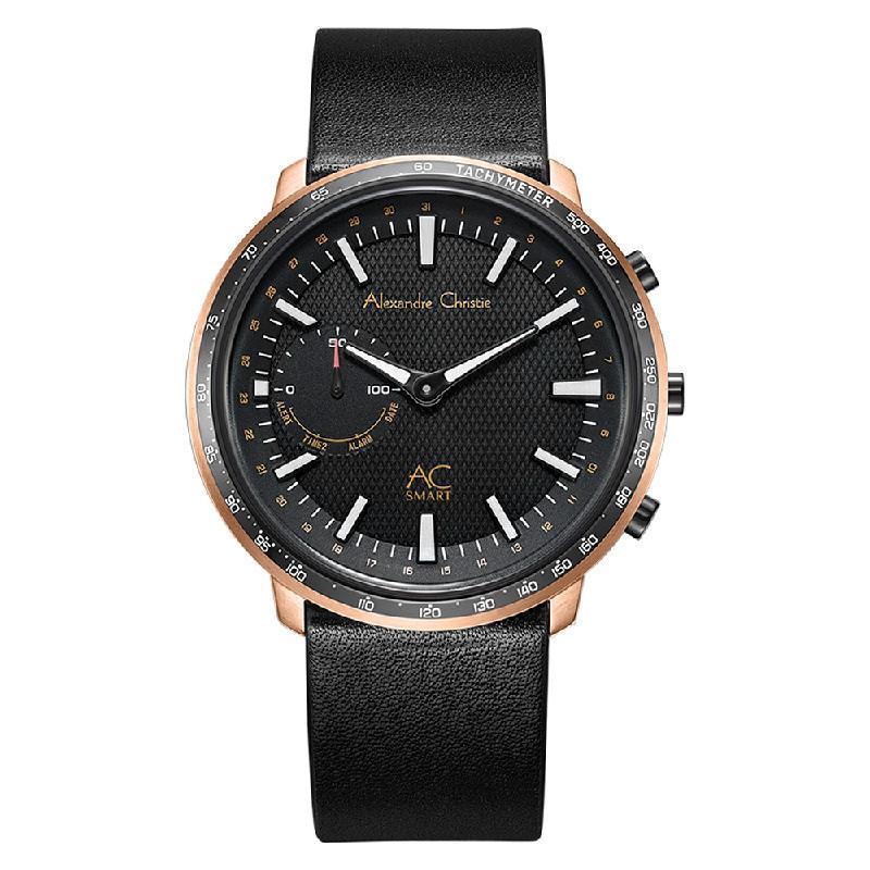 Alexandre Christie AC S001 MF LBRBA Hybrid Smartwatch Men Black Dial Black Leather Strap
