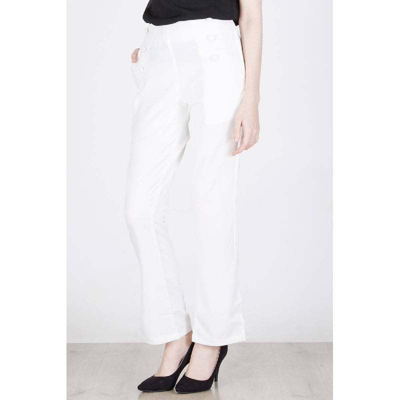 Medison Button Pants In White