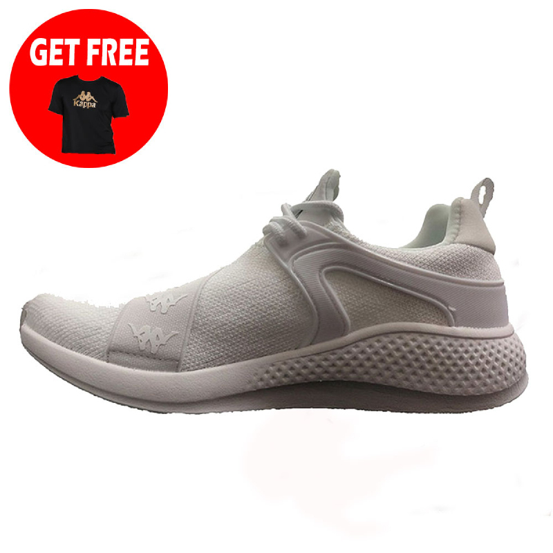 Kappa Authentic Flyknit Sneakers Shoes - White (Free 1 Pcs Kappa Theta Men T-Shirt - Black Gold)