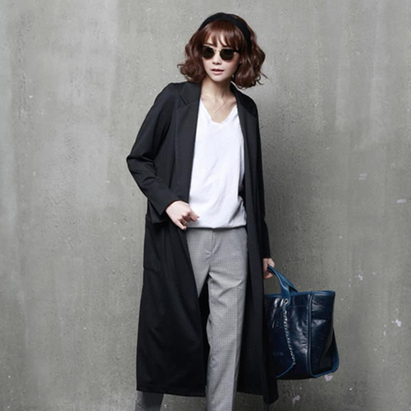 A73 Tailored Collar Opened Long Cardigan Black