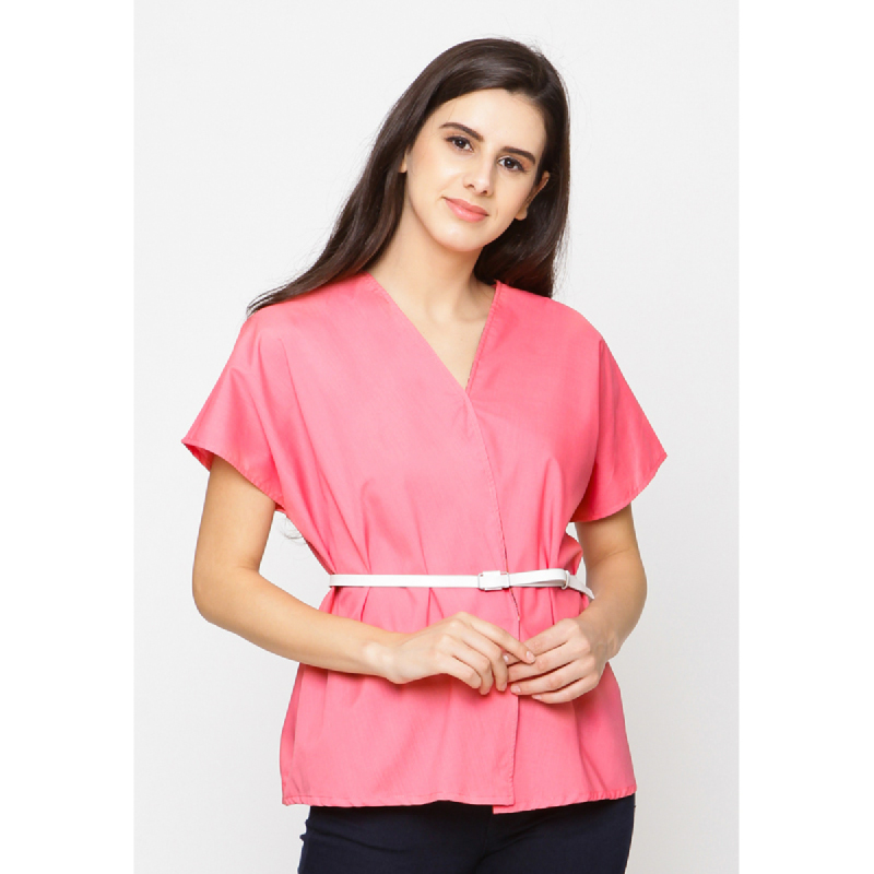 Agatha V-Neck Pink Top Pink