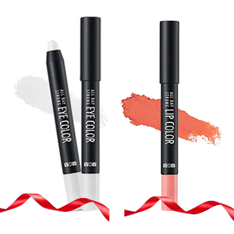 VOV All Day Strong Eye Color SI 211 Silver Salt + All Day Strong Lip Color OR 201 Peach