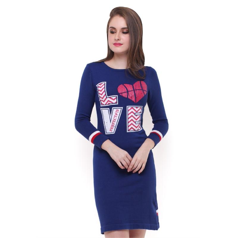 Dress - Lengan Panjang - Biru