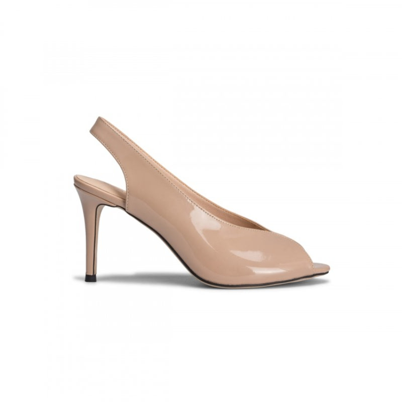 Pretty Fit R-1961-Nd Patent Peep Toe Heels Nude