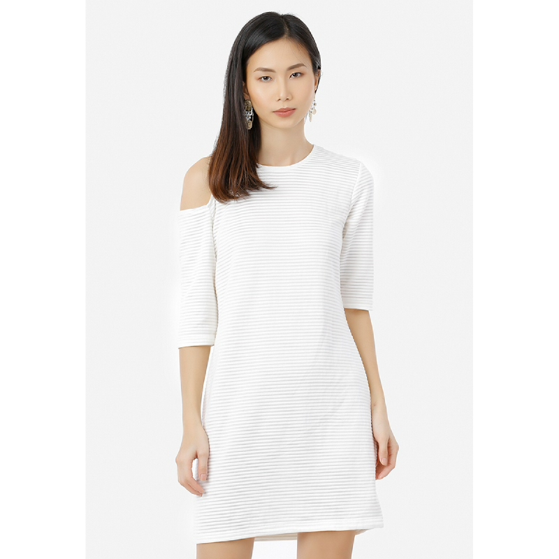 Lovadova Premium One Side Cut Out Dress White