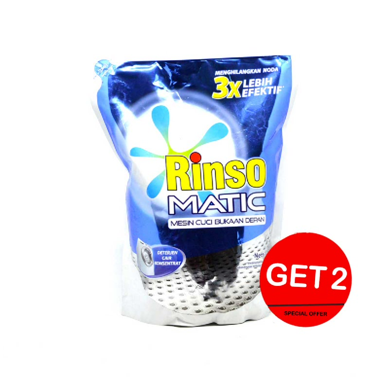 Rinso Detergent Matic Liquid Front Load Pouch 1.6 L (Get 2)