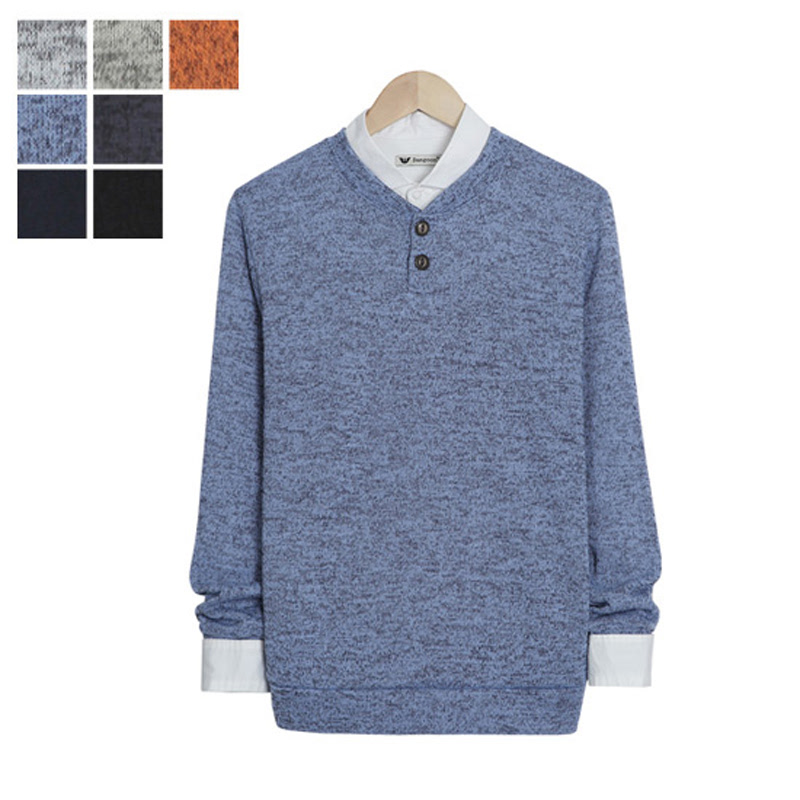 LW_Two Button Bokashi Henley Neck Knit - Sky