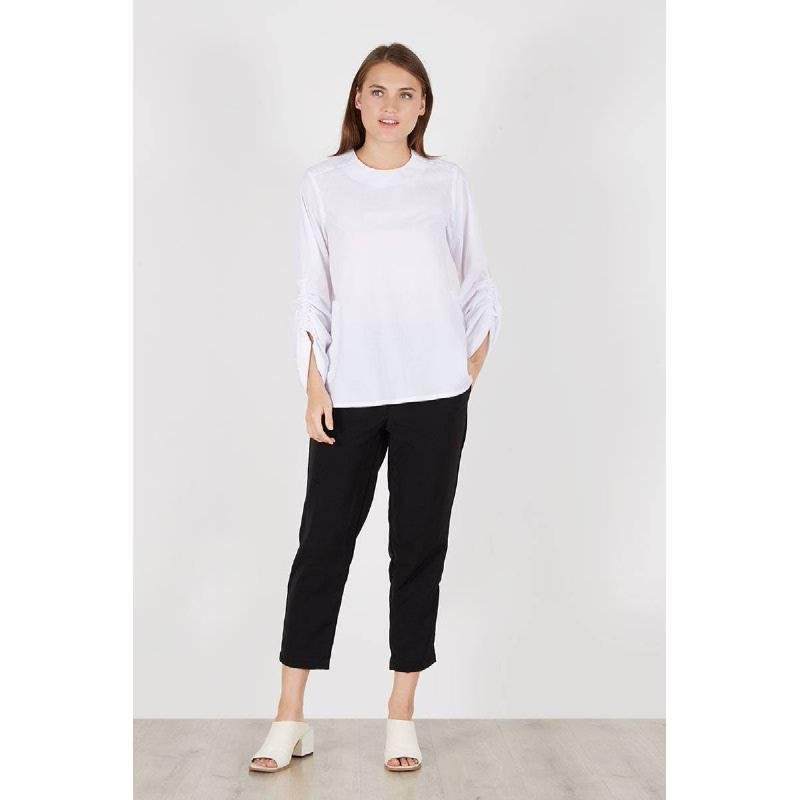 Rimby Scrunch Sleeve Top White