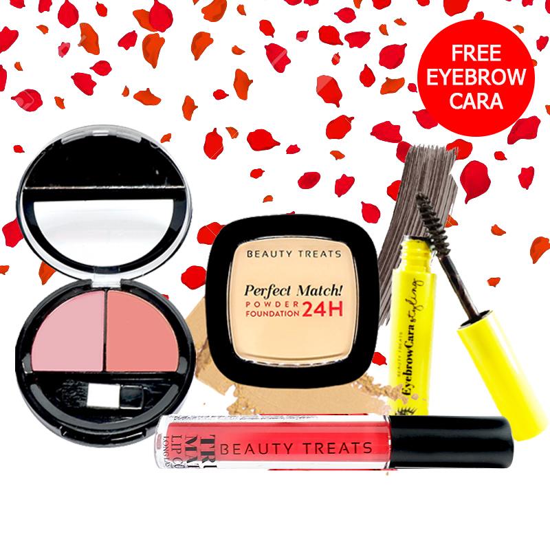Beauty Treats Make Up Set A (Perfect Match Powder Foundation 24H No. 1 + True Matte Lip Color No. 9 + Duo Blush No. 1) FREE Eyebrowcara Dark Grey Brown