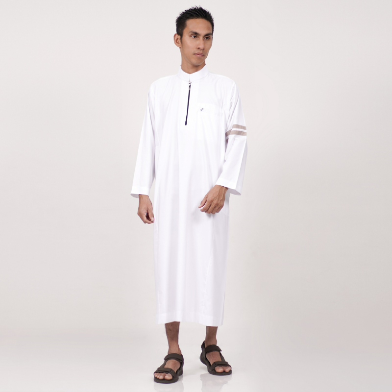 Al-Isra Jubah Nabawi Pakaian Gamis Pria Muslim (Putih)